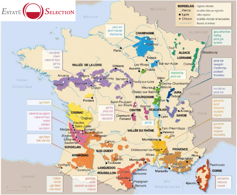 carte vins France Estate Selection