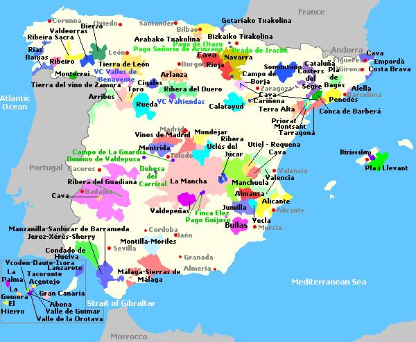 vins d'espagne carte des vignobles